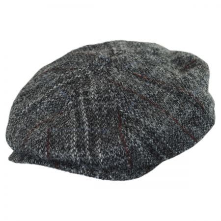 Stetson Plaid Harris Tweed Wool Newsboy Cap