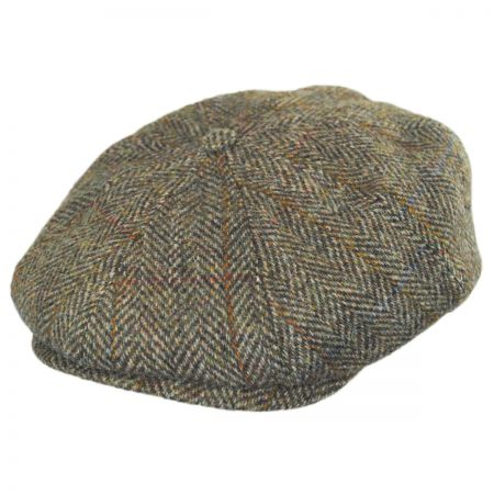 Stetson Plaid Harris Tweed Wool Newsboy Cap