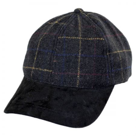 Stetson Windowpane Wool and Suede Baseball Cap