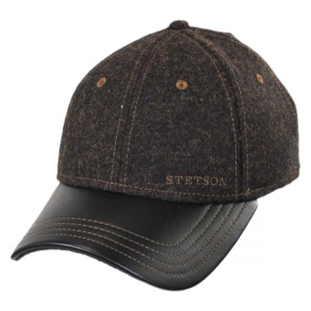 Stetson Wool and Leather Strapback Baseball Cap
