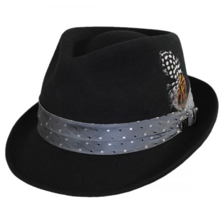 Stacy Adams Tie Band Wool Felt Trilby Fedora Hat