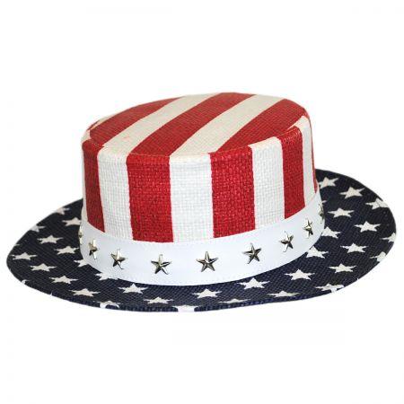 USA Flag Toyo Straw Boater Hat - Stripe Crown alternate view 1