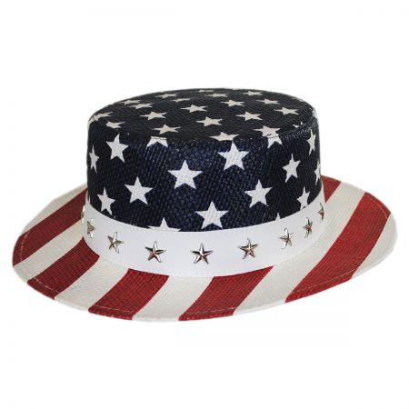 Karen Keith USA Flag Toyo Straw Boater Hat - Star Crown