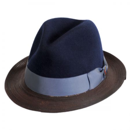 Carlos Santana Kathmandu Leather and Wool Felt Fedora Hat