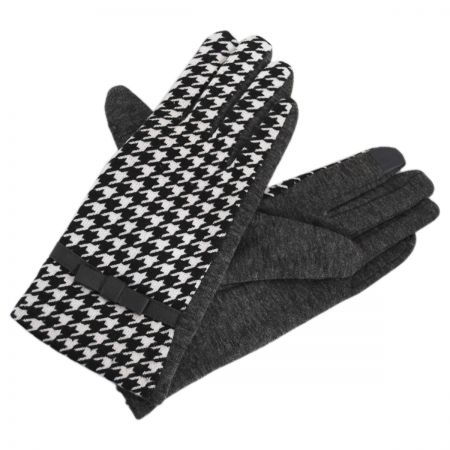 Jeanne Simmons Texting Houndstooth Jersey Knit Gloves