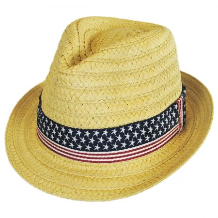 Something Special US Flag Band Toyo Straw Fedora Hat
