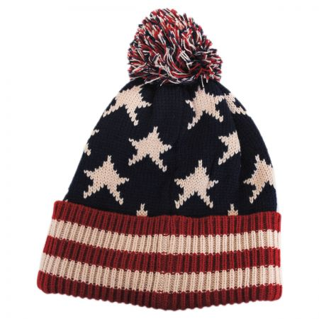 Something Special US Flag Knit Pom Beanie Hat