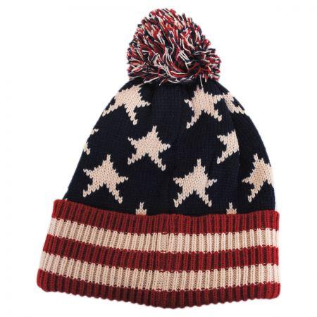 Something Special US Flag Knit Pom Beanie Hat