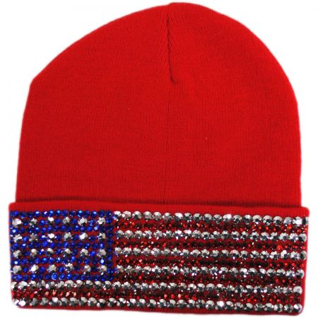 USA Flag Stud Knit Beanie Hat alternate view 2