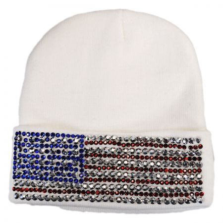 USA Flag Stud Knit Beanie Hat alternate view 4