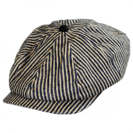 Brooklyn Hat Co Striped Cotton Double Snap Newsboy Cap