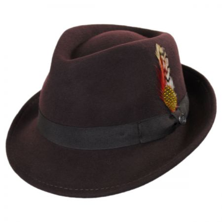 Detroit Wool Felt Trilby Fedora Hat - Brown