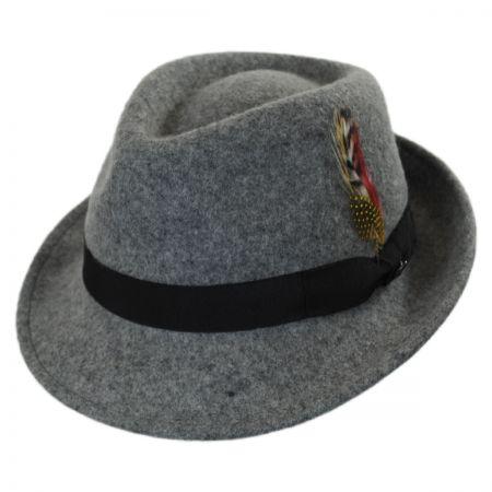 Jaxon Hats Detroit Wool Felt Trilby Fedora Hat - Flannel