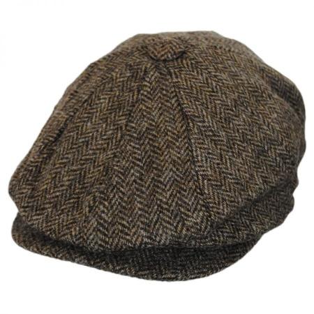 B2B Baskerville Hat Company Heathclif Herringbone Wool Newsboy Cap