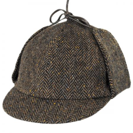 City Sport Caps Donegal Tweed Herringbone Sherlock Holmes Deerstalker Hat