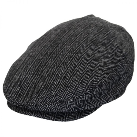 B2B Baskerville Hat Company Dartmoor Herringbone Wool Ivy Cap - Grey/Black