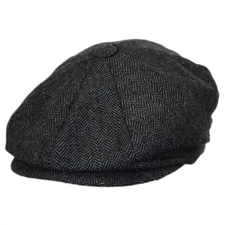 B2B Baskerville Hat Company Devon Herringbone Wool Newsboy - Grey/Black