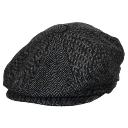 B2B Baskerville Hat Company Devon Herringbone Wool Newsboy - Grey/Black