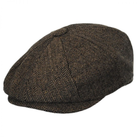 B2B Baskerville Hat Company Devon Herringbone Wool Newsboy - Tan/Brown