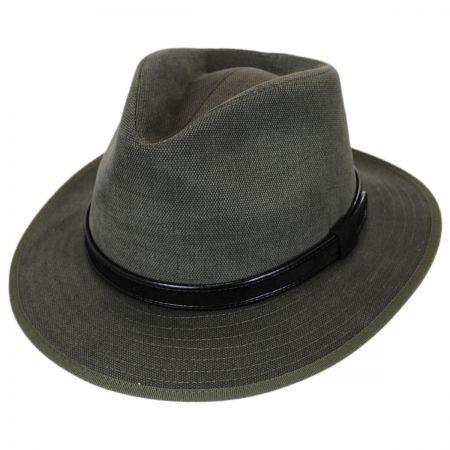 Stefeno Aspen Italian Cotton Canvas Safari Fedora Hat