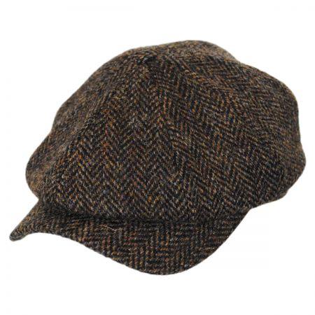 Wigens Caps Herringbone Harris Tweed Wool Newsboy Cap