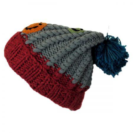 Kids' Smiley Pom Knit Beanie Hat alternate view 3