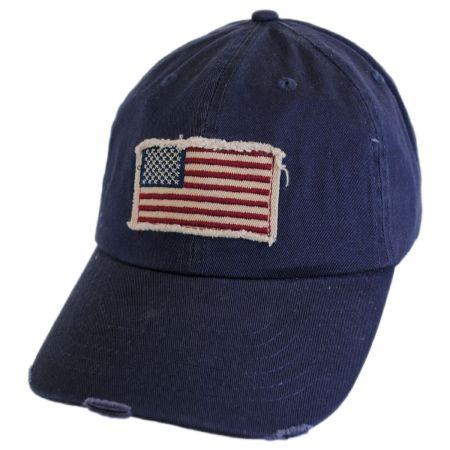 Dorfman Pacific Company Distressed USA Flag Strapback Baseball Cap Dad Hat