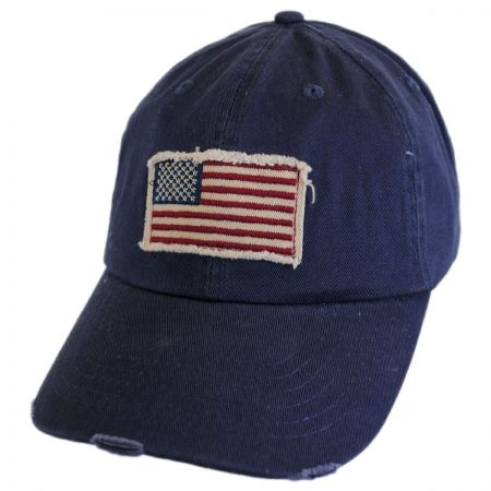 Dorfman Pacific Distressed USA Flag Strapback Baseball Cap