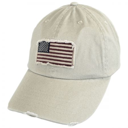Dorfman Pacific Company Distressed USA Flag Strapback Baseball Cap