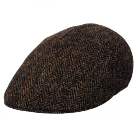 Stefeno Herringbone Harris Tweed Wool Ascot Cap