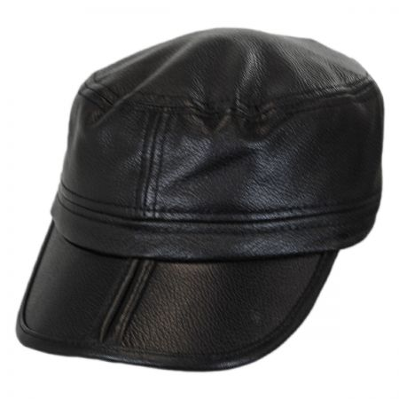 Stefeno Clarke Earflap Italian Leather Cadet Cap