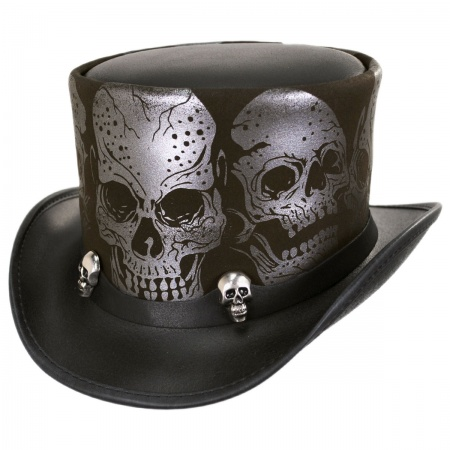 Head 'N Home Silver Skull Leather Top Hat