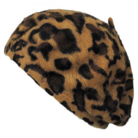 Jeanne Simmons Cheetah Print Angora Beret