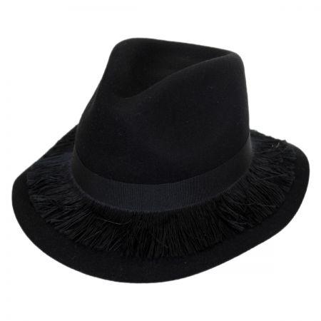 Brixton Hats Stockholm Fringe Wool Felt Floppy Fedora Hat