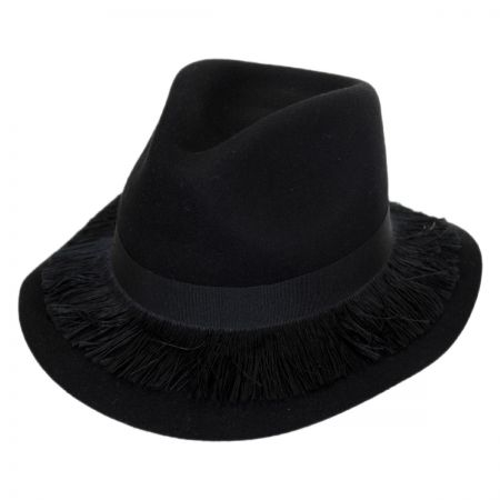 Stockholm Fringe Wool Felt Floppy Fedora Hat alternate view 1