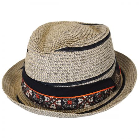 Carlos Santana Joy Toyo Straw Diamond Crown Fedora Hat