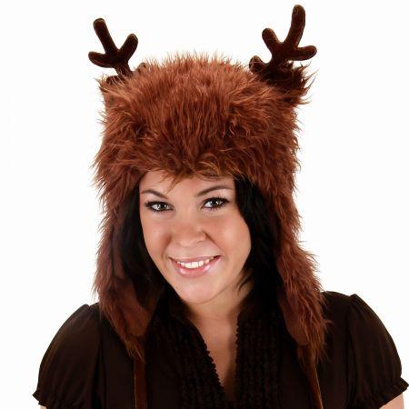 Reindeer Peruvian Hoodie Hat