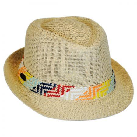 Panama Jack Pattern Band Toyo Straw Fedora Hat