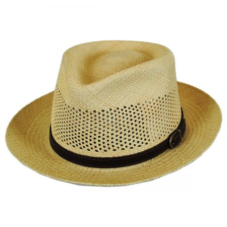 Continental Vent Grade 8 Panama Straw Fedora Hat alternate view 17