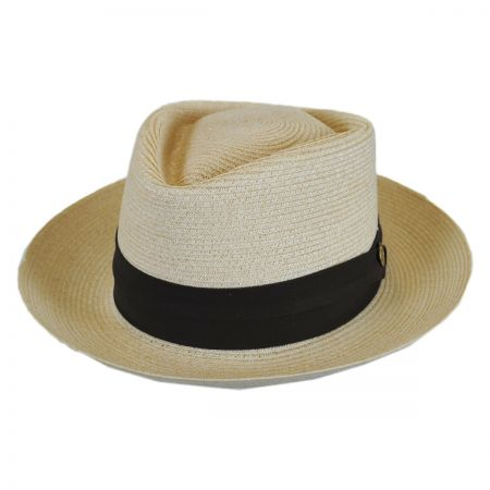Stetson Track Day Hemp Straw Diamond Crown Fedora Hat