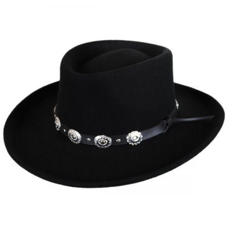 Western Wool Felt Gambler Hat