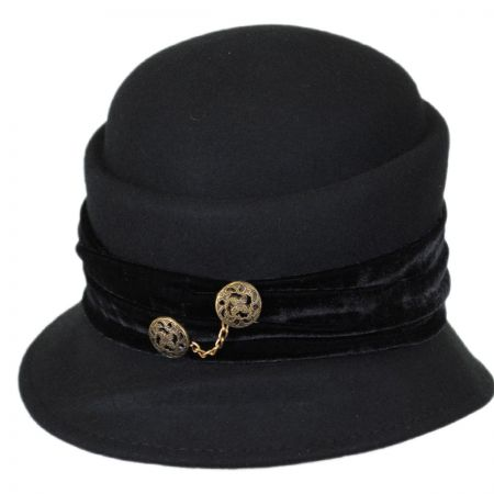 Callanan Hats Buttons and Velvet Wool Cloche Hat
