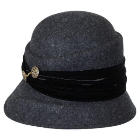 Callanan Hats Buttons and Velvet Wool Cloche Hat