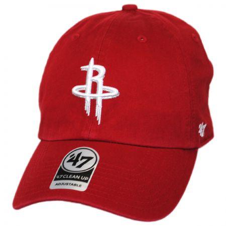 47 Brand Houston Rockets NBA Clean Up Strapback Baseball Cap Dad Hat