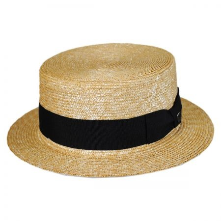 B2B Black Band Wheat Straw Skimmer Hat