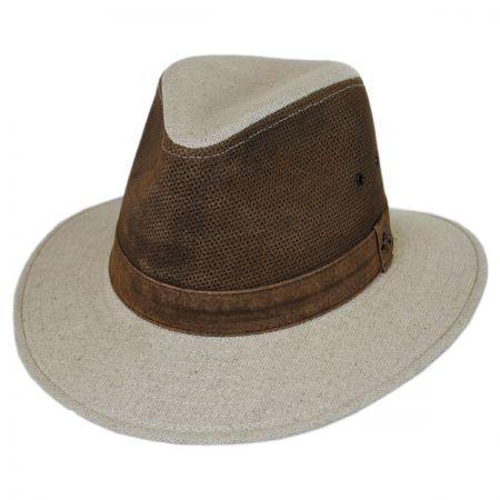 Linen and Leather Safari Fedora Hat alternate view 1