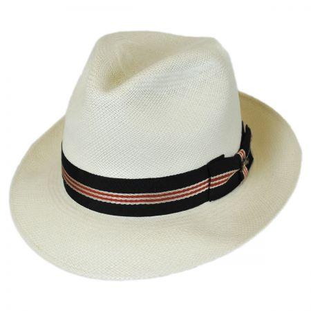 Striped Band Grade 8 Panama Straw Fedora Hat alternate view 1