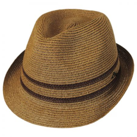 Tommy Bahama Two-Tone Band Toyo Straw Trilby Fedora Hat