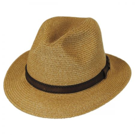Leather Band Toyo Straw Safari Fedora Hat alternate view 5
