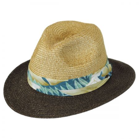 Tommy Bahama Tropical Band Toyo Straw Safari Fedora Hat